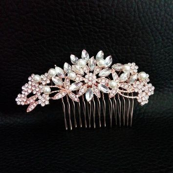 CREYCI7 Art Deco Rose Gold and Silver Clear Crystals and Pearls Flower Leaves Wedding Hair Comb Bridal Headpiece Hair accessories