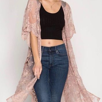 mariposa - sheer kimono sleeve mesh lace midi duster/cardigan with drawstring - rose