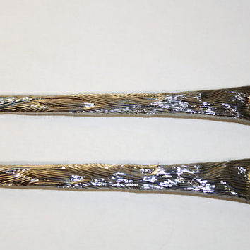 Vintage Santa Salad Tongs, International Silver Co Silver Plate Christmas Serving Set