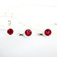 burgundy red clear crystal swarovski jewelry set art deco rhinestone necklace earrings wedding jewelry bridal jewelry bridesmaid jewelry set