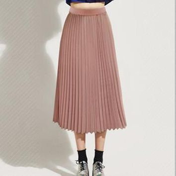 STYLEDOME Vintage Maxi Skirts 2019 Women Bohemian Style Elastic Waist Chiffon Long Skirt Female Spring Summer Pleated Skirts Black Pink