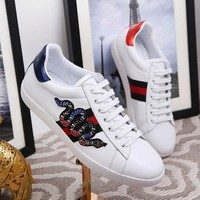 Gucci Designer Fashion Women Men Lace-Up Flat Shoes Top Quality Genuine Leather Lovers Casual Shoes Luxury Sport Sneakers