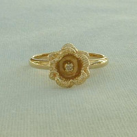 Delicate Flower Ring 10K GF Shank Rhinestone Center Size 5 Vintage Jewelry
