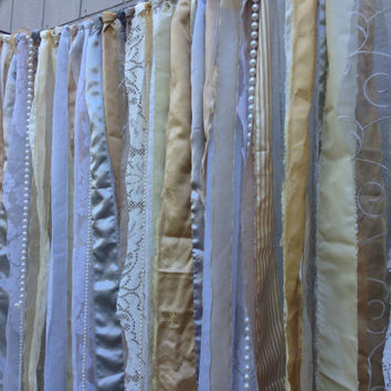Metallic Gold, Silver, Pewter, Pearls - Gatsby Inspired Fabric Garland - Wedding Backdrop Floor Length -Repurposed Lined, Satin, Lace