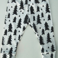 Organic Knit Baby Leggings, Trees, Triangles, Monochromatic
