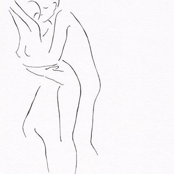Black and white original ink drawing. Erotic bedroom art. Lovers illustration. Minimalist couple line art. Romantic, sexy. Man and woman.