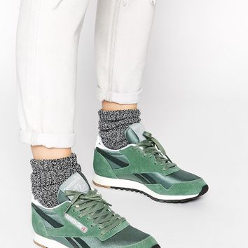 Reebok Paris Runner Green Trainers at asos.com