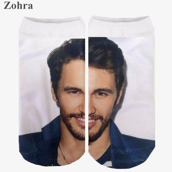 Zohra Fashion James Franco Super Star Graphic 3D Full Print Sock Women's Low Cut Ankle Socks Cotton Hosiery Socks