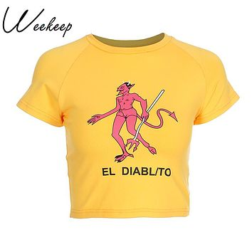 Weekeep Sexy Slim Waist Cropped T-shirt Women Fashion Cotton Cartoon Print t shirt Summer Yellow Knitted tshirt O-neck Devil Top
