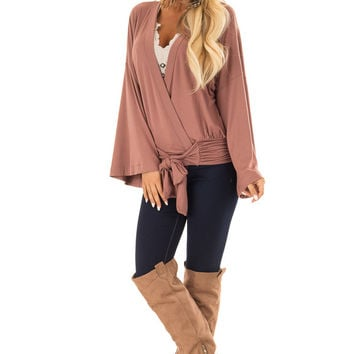 Dusty Rosewood 3/4 Sleeve Surplice Top
