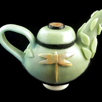 Collectible asian style teapot, polymer clay faux jade with dragonfly design