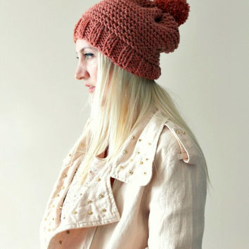 Womens Hand Knitted Pompon Beret- Sienna