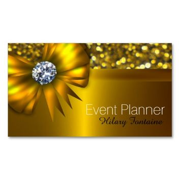 Gold Bow Gold Glitter Event Planner Business Card
