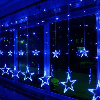 AC220V-240V 138-LEDS Strobe Light Christmas Stars Style Decorative String Light for Christmas Partys Wedding New Year Decorations etc = 1945880132