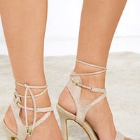 Poem Power Beige Suede Lace-Up Heels