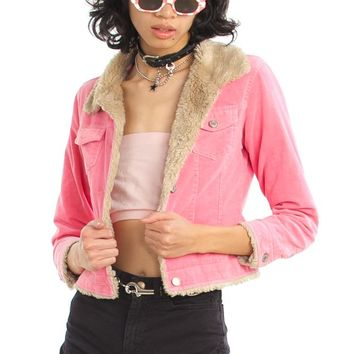 Vintage Y2K Cotton Candy Pink Corduroy Jacket - XS