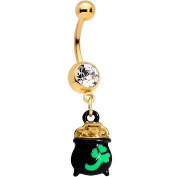 Clear Gem Gold Tone Pot o Gold St Patricks Day Dangle Belly Ring