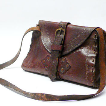 Vintage 1960'S  BOHO Tooled Leather Fesitval Bag hand made FREE shipping