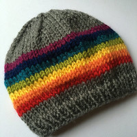 The Danielle - Rainbow Knit Hat, Rainbow Baby, Baby Gift, Hand Knit Hat