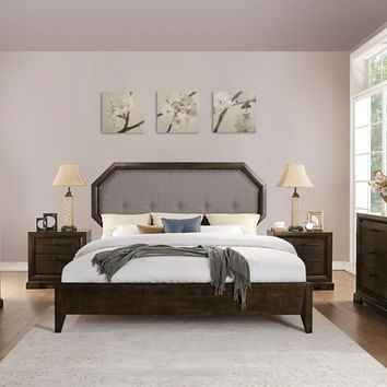 Acme 24090Q 5 pc Selma tobacco finish wood light gray fabric queen bedroom set
