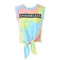 Casual Rainbow Watercolor Tie Dye T-shirt Tees 2016 Summer Knotted Sleeveless Beach Cotton Letter Printing T-shirts Women femme