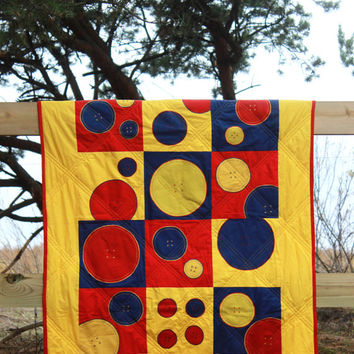 Quilts for Children, Colourful Lap Quilt, Toddler Patchwork Quilt, Children Blanket, Nursery Room Decor, Yellow Red Blue Handmade Bedding