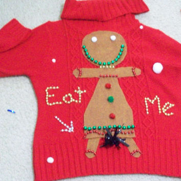 Ugly Christmas Sweater Women  Gingerbread Girl Bushy Eat Me Funny Naughty Fun.