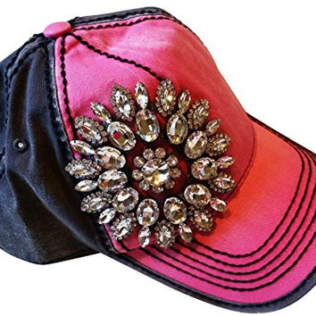 Women s Olive   Pique Large Rhinestone Floral Ball Caps 4ec37363d