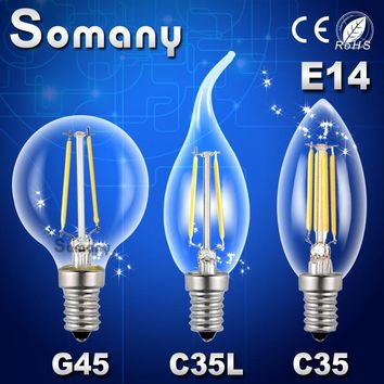 Edison LED E14 Dimmable Retro Led Spotlight Light C35 G45 Chandelier Candle Lamp Replace Incandescent Edison LED Filament Bulb