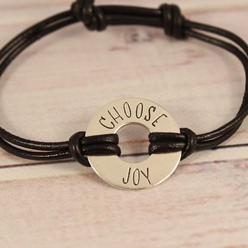Custom Washer Affirmation Bracelet with Leather Band - YOUR CHOICE OF METALS