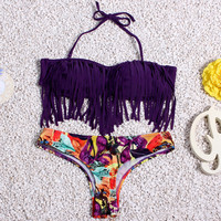 Tassel Print Bikini Sexy Swimwear Bathing Suit Crochet Swimsuit