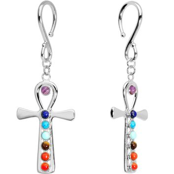 Handcrafted Steel Balanced Life Chakra Ankh Ear Weights