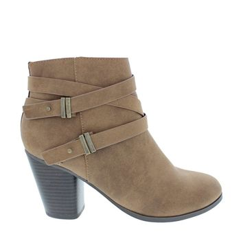 2Buckle Cross Strap Ankle Boot