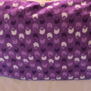 Children's Standard Pillow Case/ Girls Purple Hedgehog Pillow Case, Cotton Flannel Pillow Case/ Kids Bedding