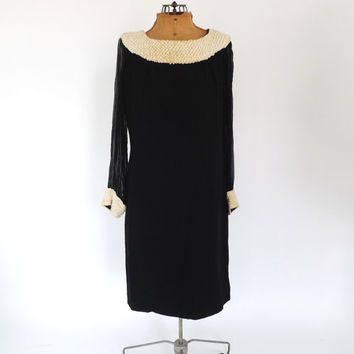 Vintage 1960s 70s Groovy Black Mod Mini Dress Disco GoGo Dancer Party Dress Retro Medium Twiggy Motown Kitsch Babydoll Dress Sheer Sleeves