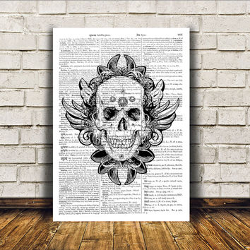 Skull print Aztec poster Tribal art Wall decor RTA283
