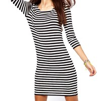Vshop-2000 Women's Striped Dress