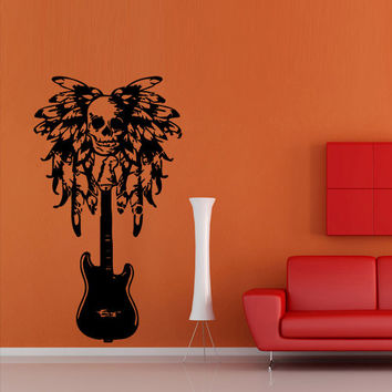 Wall decal vinyl art decor sticker design music  guitar  tool  skull  sugar  feather  string  note mural bedroom (m1085)