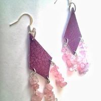 Leather and Glass Chandelier Earrings Glass Earrings Purple Recycled Leather
