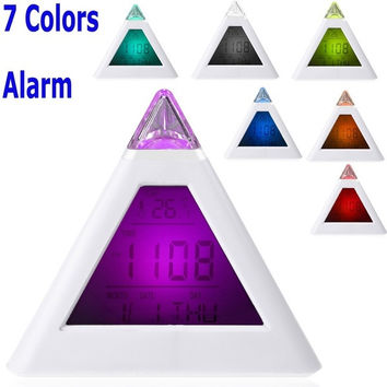Single 7 LED Color Changing Pyramid Digital LCD Alarm Clock Thermometer C/F Desktop Table Clocks Despertador Weather Station = 1696950404