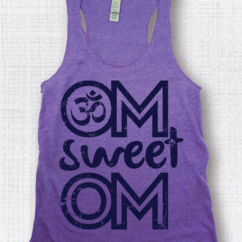 Yoga Tank Top Fitness Workout Exercise Top OM Sweet OM Purple/Navy Gym Shirt