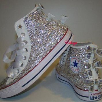 508f22bb65d7 CREYUG7 Clear Sparkly High Top Converse with Sequin Silver Bow