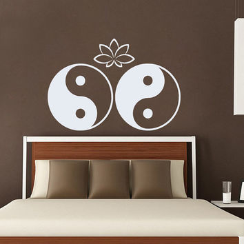 Mandala Wall Decal Ethnic Lotus Yoga Studio Stickers Yin Yang Vinyl Decals Flower Art Mural Home Interior Design Bedroom Bohemian Decor KI18