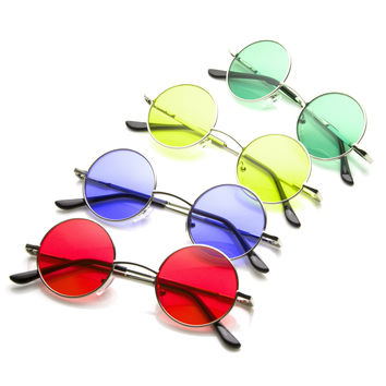 Hippie Small Vintage Round Circle Color Lens Metal Sunglasses 8702 [4 Pack]