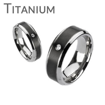 Midnight Star– Brushed black and silver titanium his and hers ring with cubic zirconia solitaire