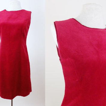 Vintage Gap Red Velvet Dress // Zips Up Back // Christmas Festive Dress // Medium