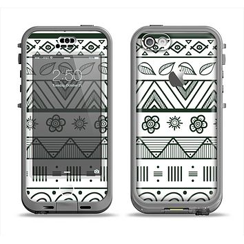 The Black & White Floral Aztec Pattern Apple iPhone 5c LifeProof Nuud Case Skin Set