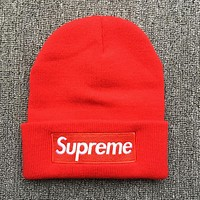Supreme Popular Women Men Casual Autumn Winter Warm Knit Hat Cap Red