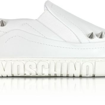 Moschino White Leather Slip On Sneakers w/Spikes