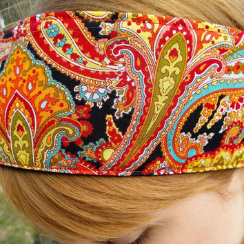 Groovy Paisley Fabric HeadBand,  Wide Cotton Headbands, 70's Headbands, Head Scarves,Headwraps, Elastic Headbands for Women- FREE SHIPPING!